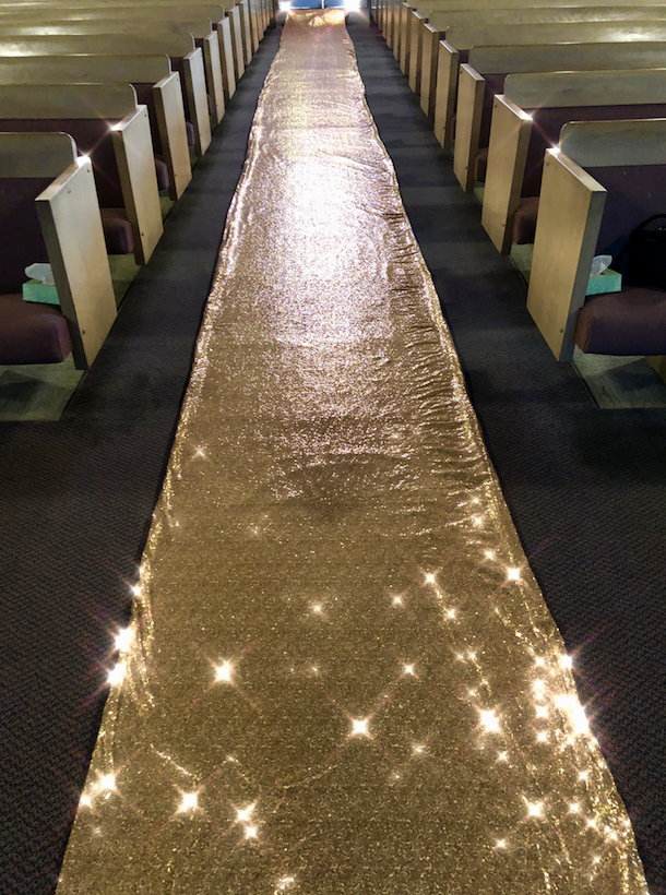 or Shiny Sequin Sequence Wedding Aisle Runner with Lining