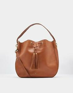 Joules Beau Leather Shoulder Bag In Chesnut One Size