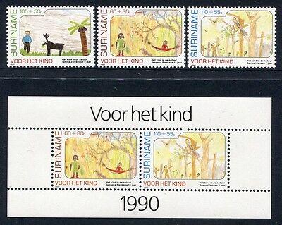 Bl.54 ** Mnh Warnen Surinam 1990 Kinderzeichnungen Childrens Drawings 1353-55 Europa Motive