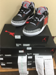Nike Air Jordan 3 Retro OG 854262-001 Black Fire Red Grey CEMENT AUTHENTIC 4y~15 Comfortable and good-looking