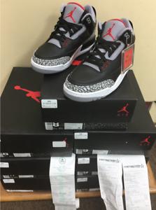 Nike air jordan 3 retrò og 854262-001 nero fire red cemento grigio autentico 4y ~ 15