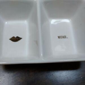 Rae Dunn Dish | Gold MUAH & LIPS Trinket Divided Dish Artisan Magenta Collection