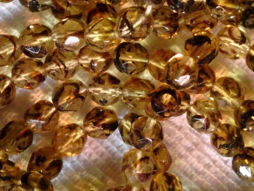 VTG 300 FACETED FIRE POLISHED TORTOISE GLASS BEADS 7mm #071418h