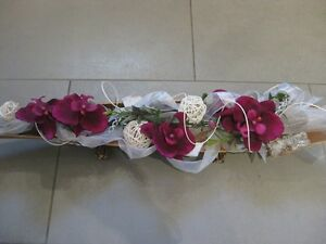 Tischdeko Floristik Schale Orchidee Gesteck Bordeaux Creme Shabby