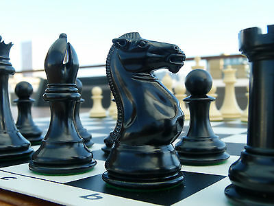 QUADRUPLE WEIGHT CHESS SET Black Board IVORY PIECES Tournament NEW Fun Game Gift