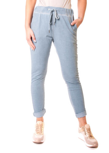 Damen Hose Jogginghose Jogger Pants Joggpants Sporthose Eng Jogpants Blau L 40