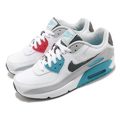 Nike Air Max 90 LTR GS White Grey Chlorine Blue Red Kid Women Casual CD6864-108 | eBay