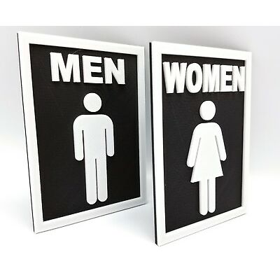 Traditional  3D printed Restroom Signs -3 dimensional Customer Colors avail  bw
