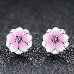 6f8a3b5db Magnolia Bloom 925 Sterling Silver Pale Cerise Enamel & Pink CZ Stud ...