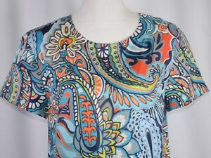 J-CREW-Women-039-s-Silk-Blouse-Size-4-Short-Sleeve-Pullover-Paisley-Colorful-Floral
