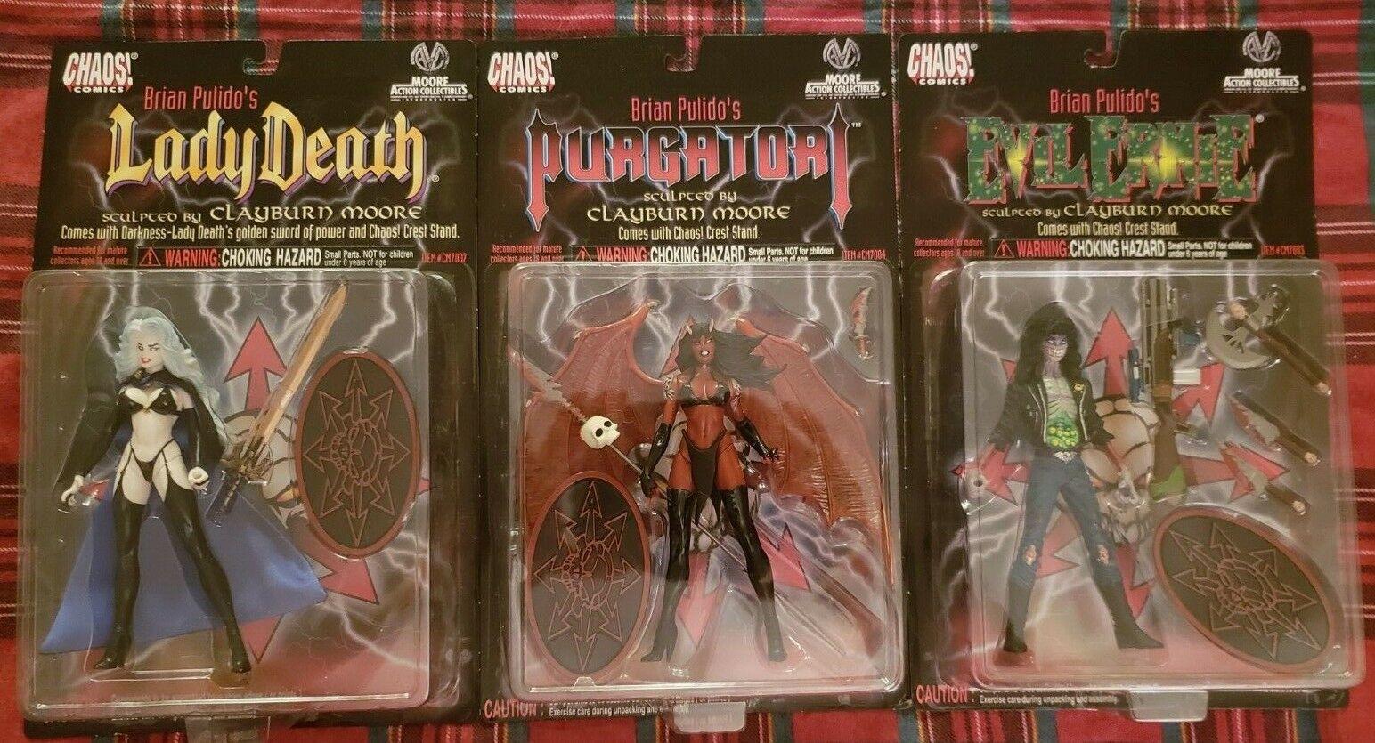 NEW MOC Chaos Comics Action Figures Figures Figures Lady Death, Purgatori, Evil Ernie Lot of 3 81595c
