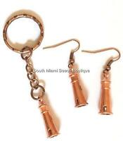 Copper Lighthouse Earrings Keychain Set Pierced Nautical Rose Gold Plated