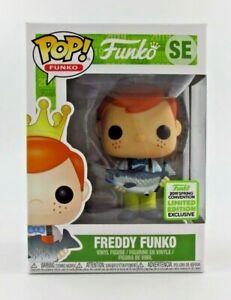 FUNKO-POP-Freddy-FUNKO-con-pescado-Amarillo-Pantalones-ECCC-Exc-SE-Raro-Reino-Unido-STOCK