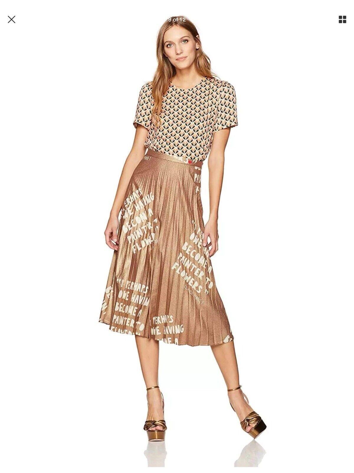 New Dear Drew By Drew Barrymore Women Lexington Ave Pleated Metallic Skirt SZ 2