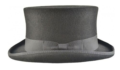 351dc83a6a2e4 ... 671632c4144 3 sur 10 Black Top Hat 100% Wool Felt Supreme Quality  Victorian Hat ...