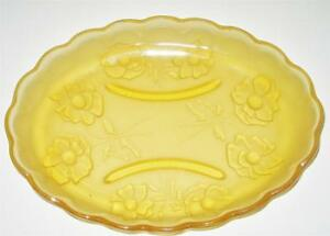 STUNNING-VINTAGE-FROSTED-AMBER-DEPRESSION-GLASS-OVAL-DISH-FLOWER-PATTERN-CHIP
