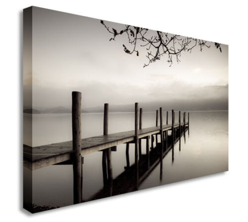 Smoky Pier Black And White Distance Wall Picture Prints Canvas Art Cheap