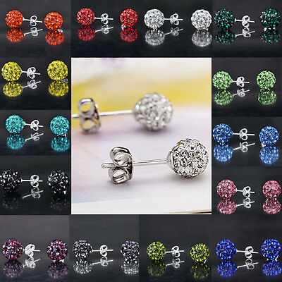Wholesale NEW SHAMBALLA Disco Bead Plated Silver Crystal Stud Earring