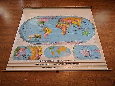 USED WORLD US UNITED STATES USA ALASKA Pull Down Classroom 3 Map Rand McNally