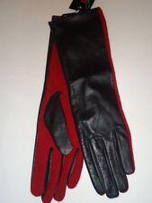 "Ladies Women's Genuine Leather & Wool 13.5"" Long Gloves,Black/Red, M/L"