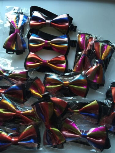 Kids Boys Shine Rainbow Colorful Multi-colored Stripe Party Bowtie Bow ties PROP