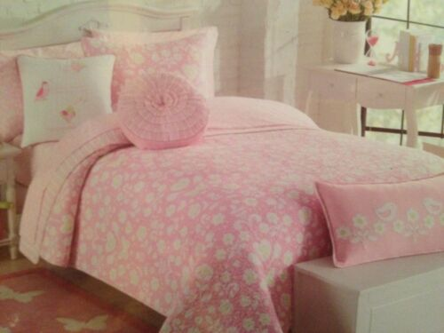BITTERSWEET INN 5P f QUEEN QUILT SHAMS DECOS SET PINK LIME BIRD BUTTERFLY HEART