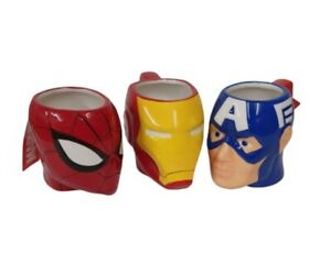 Marvel-Coffee-Mug-Spiderman-Captain-America-Ironman-Head-Shaped-Ceramic-Cup