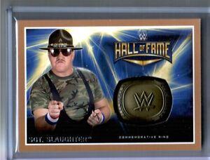 WWE-Sgt-Slaughter-2016-Topps-RTWM-BRONZE-Commemorative-HOF-Ring-Card-SN-28-of-50