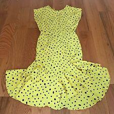 Vintage 90's All That Jazz Yellow & Black  Polka Dot Flapper Dress Size 11