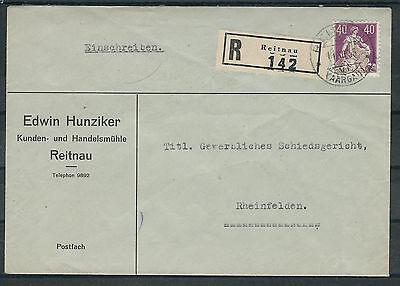 208y Auf R-brief Reitnau Stetig Schweiz Mi.nr Briefe & Kartenposten
