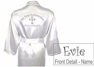 Children\'s Personalised Holy Communion Satin Silky Robe / Dressing ...