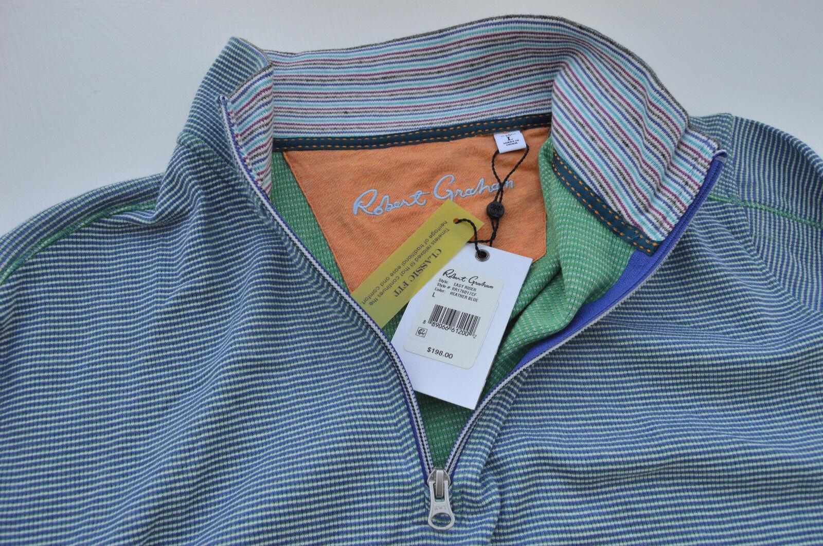NWT  Robert Graham Mens EASY RIDER long sleeve HALF-ZIP sweater shirt size L