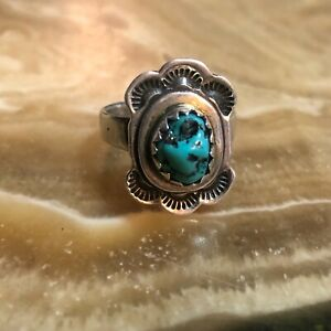 Vintage Sterling Silver Turquoise Long Ring Size 7