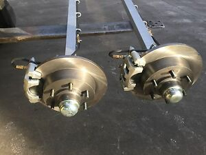 NEW-HYDRAULIC-DISC-50MM-SQ-1600KG-COMPLETE-TRAILER-AXLE-SUIT-BOAT-BOX-CAR