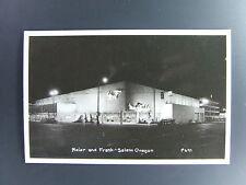 Salem Oregon OR Meier & Frank Store At Night Real Photo Postcard RPPC 1950's