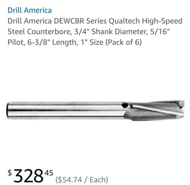 1 Shank Diameter 3//8 Pilot 6-5//8 Length 1-1//4 Size 3//8 Pilot Pack of 1 6-5//8 Length 1-1//4 Size DEWCBR1-1//4 Drill America DEWCBR Series Qualtech High-Speed Steel Counterbore 1 Shank Diameter Pack of 1