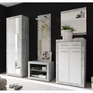 garderobe stone komplettset in beton optik grau und wei glanz mit spiegel 5 tlg ebay. Black Bedroom Furniture Sets. Home Design Ideas