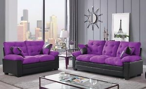 Peachy Details About Sofa Loveseat 2Pc Set Plush Comfort Tufted Purple Black Microfiber Family Couch Bralicious Painted Fabric Chair Ideas Braliciousco