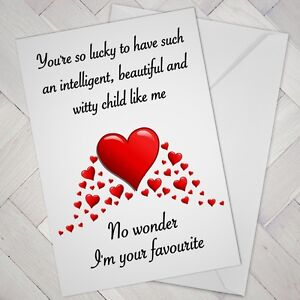 Cheeky Novelty Joke mum Cards FUNNY Birthday MOTHERS DAY Card Favourite child