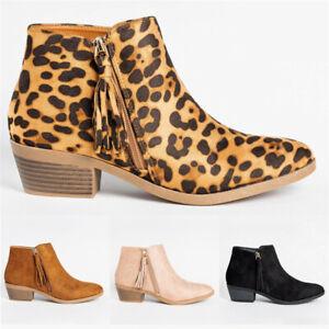 Women-Tassel-Low-Block-Heel-Chelsea-Ankle-Boots-Ladies-Zipper-Casual-Shoes-Size