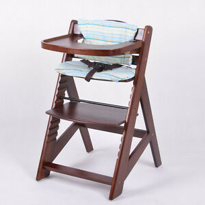 chaise haute en bois ajustable chaise b b escalier chaise haute brun ebay. Black Bedroom Furniture Sets. Home Design Ideas