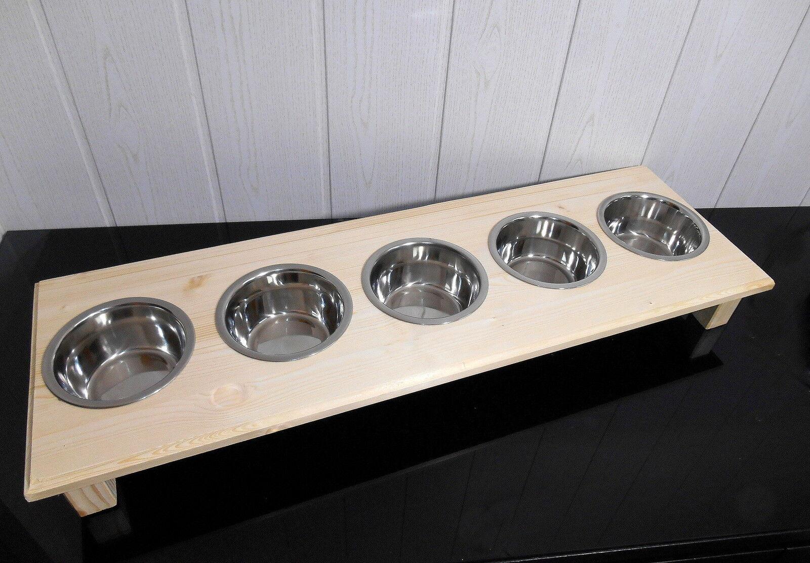 Handarbeit für Ihre Katzen  Futterbar mit 5 Näpfen,  2 - 4 Katzen Kitten  (382) | Elegant und feierlich