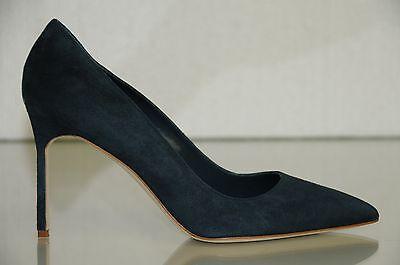 New Manolo Blahnik BB 90 Steel Blue Suede Heels Pumps Shoes 37 38 40 41