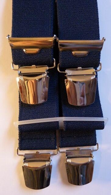 dunkelblauer Hosenträger, 4 extra starken Clips, 120 cm lang, 35 mm breit