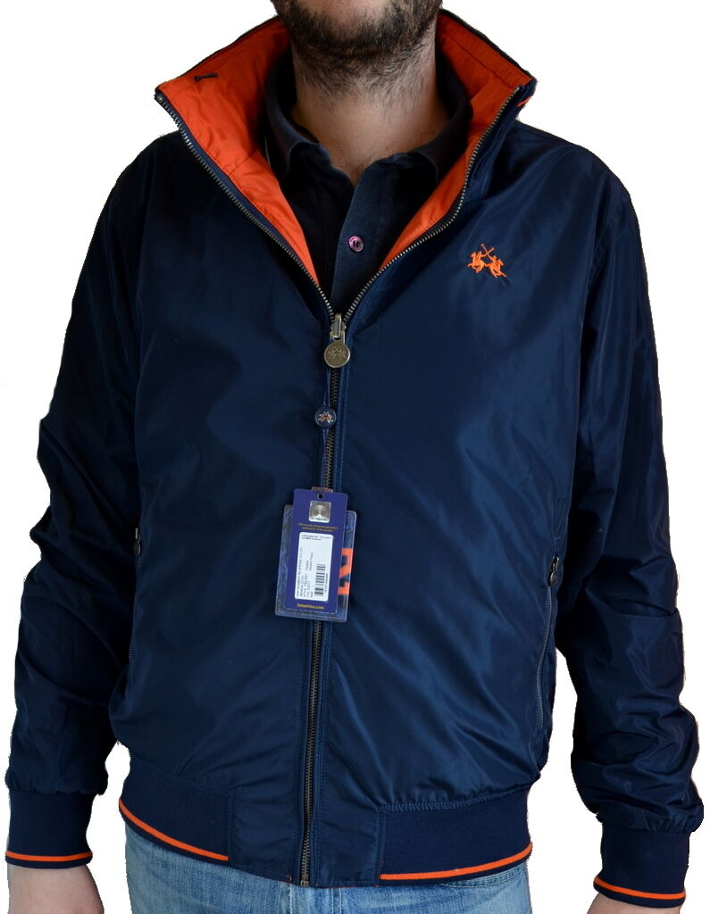 Giacca Giubbotto Double Face Uomo Maniche Lunghe La Martina Jacket Uomo Navy   Or
