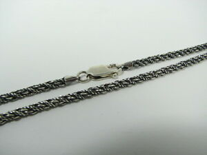 1.6mm Oxidized ROUNDED BOX Sterling Silver Chain Necklace