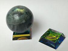 Rainbow Glass Stand For Gemstone Spheres Amethyst Selenite Rainbow Glass Stand.