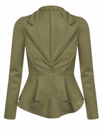 Women Plain Crop 1 Button Peplum Frill Blazer Jacket Coat Top Cardigan Plus Size