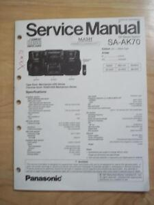 panasonic service manual for the sa ak70 cd stereo music system mp rh ebay com car stereo service manual uher 4200 report stereo service manual