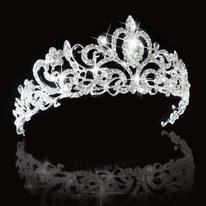 Bridal-Princess-Austrian-Crystal-Tiara-Wedding-Crown-Veil-Hair-Accessory-Silver